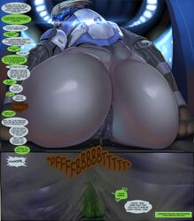alien anal anal_prolapse anthro anus ass avian beak big_butt bird close-up closed_eyes clothed clothing dialogue english_text fart garrus_vakarian half-dressed justmegabenewell looking_back looking_down male male/male mass_effect micro nude open_mouth presenting presenting_hindquarters prolapse sitting size_difference size_play sweat text turian video_games
