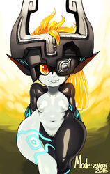 blonde_hair breasts female helmet imp_midna long_hair midna modeseven navel neon_trim nintendo nipples nitrotitan nude pointy_ears pussy red_eyes small_breasts solo the_legend_of_zelda thigh_gap twilight_princess two-tone_skin wide_hips yellow_sclera