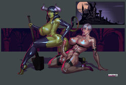 abs areolae ass ass_grab bra breasts demon demon_girl dickgirl dmitrys elbow_gloves ell erection fangs female fingerless_gloves futa_on_female futanari garter_belt garter_straps gloves green_skin grovnur heterochromia high_heels horns hybrid kneeling large_breasts large_penis large_testicles latex lingerie long_tongue mace minotaur nipples nude open_mouth orc penis pointy_ears pussy short_hair tail tail_grab tattoo testicles thighhighs toeless_legwear tongue tongue_out vampire weapon white_hair yellow_eyes