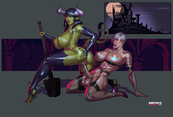 abs areolae ass ass_grab bra breasts demon demon_girl dickgirl dmitrys elbow_gloves ell erection fangs female fingerless_gloves futa_on_female futanari garter_belt garter_straps gloves green_skin heterochromia high_heels horns kneeling large_breasts large_penis large_testicles latex lingerie long_tongue mace nipples nude open_mouth penis pointy_ears pussy pussy_juice sex short_hair tail tail_grab tattoo testicles thighhighs toeless_legwear tongue tongue_out vaginal_penetration vampire weapon white_hair yellow_eyes