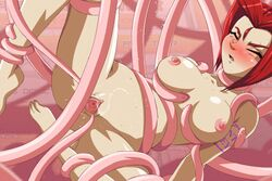 animated defeated hentai_key nude restrained rubbing spoils spread_pussy tentacle zone
