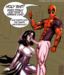 1boy 1girl abs bottomless breasts cock cum cum_on_breasts cum_on_face deadpool death death_(marvel) death_(marvel_comics) erection facial female habit hood intheshade kneeling large_breasts large_penis looking_at_viewer male marvel marvel_comics muscular nipples open_mouth pale_skin penis pubic_hair semen shade standing straight tattoo tattoos testicles text thumbs_up tongue veins veiny_penis x-men