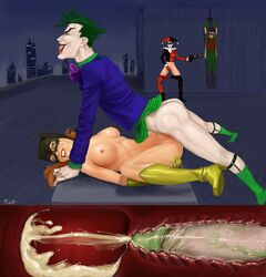 age_difference ahegao angry balls_deep barbara_gordon batgirl batman_(series) boots bottomless bound clenched_teeth cross_section crying cum cum_in_pussy cum_in_uterus cum_inside dc enduring_face erect_nipples excessive_cum fingering forced gun harley_quinn high_heel_boots internal_cumshot joker looking_away mask masturbation missionary_position naked nipples no_panties nude on_back orange_hair pale_skin pants_down pussy_juice rape red_lipstick restrained robin rosselito runny_makeup saliva small_areola small_nipples spread_legs spreading surprised tears the_joker torture veiny_penis weapon white_skin x-ray