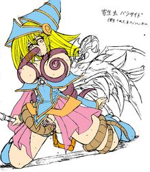 anus blonde_hair bondage breasts dark_magician_girl duel_monster female female hat hige_ani highres insects large_breasts legs long_hair masturbation monster nipples open_mouth parasite_paracide pussy sketch spread_legs straight tentacle tongue yu-gi-oh! yuu-gi-ou_duel_monsters