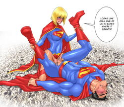 anal anal_sex anasheya blonde_hair blush boots cape cousins cum_while_penetrated dc dc_comics dickgirl futa_is_always_bigger futa_on_male futanari grin incest kneeling leg_grab leotard leotard_aside male missionary penis sex short_hair smile supergirl superman testicles