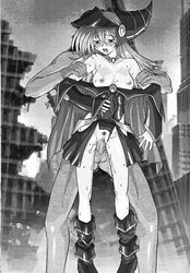 artist_request breasts censored dark_magician_girl duel_monster female hat hige_ani highres large_breasts legs long_hair monochrome nipples sex straight vaginal_penetration yu-gi-oh! yuu-gi-ou_duel_monsters