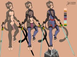 1boy 2015 abs arashidrgn balls biceps character_design clothing fur hair lineup male male_only mammal model_sheet monkey muscles ninja nipples nude pecs primate solo standing sword thong weapon