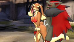 3d anthro ass black_fur bra breasts brown_fur butt_grab canine cgi closed_eyes clothing cum cum_in_pussy cum_inside cum_on_butt duo female fox from_behind fur garry's_mod grey_fur hair hand_on_butt johnithanial lagomorph looking_back lopunny mammal nintendo open_mouth outside penetration pokemon sex standing tongue underwear vaginal_penetration video_games zoroark