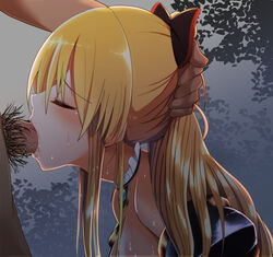 bare_shoulders blonde_hair blush bow choker closed_eyes cum cum_in_mouth deepthroat fellatio female forced from_side granblue_fantasy hairbow hand_on_another's_head irrumatio izumi_arima long_hair oral penis ponytail profile pubic_hair sweat vila