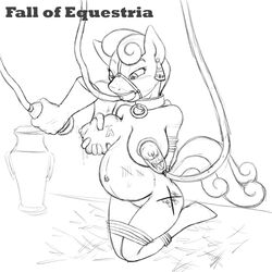 2015 anthro anthrofied black_and_white blush bonbon_(mlp) bondage bound breast_milking breasts collar container cutie_mark disembodied_hand ear_tag face_harness fall_of_equestria female friendship_is_magic gag greyscale hair kneeling lactating milk my_little_pony navel navel_piercing nipples nude piercing poprocks pregnant pussy rope_bondage sketch slave tag tally_marks tube