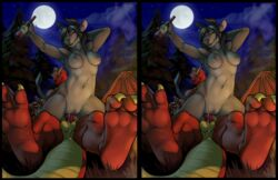 2012 3_toes alcohol anthro balls barefoot beverage black_hair bovine breasts claws clitoris cross_eye_stereogram cum cum_in_pussy cum_inside deuce_swift dragon drink duo erection female female_on_top foot_focus fur grass grey_fur hair hindpaw horn iggi interspecies kneeling knot looking_at_viewer lying male male/female mammal moon night nude on_back on_top orgasm outside paws penetration penis pussy raised_arm red_body red_scales reverse_cowgirl_position scalie sex soles stereogram tauren toe_claws toes tree vaginal_penetration vaginal_penetration video_games warcraft wings wood world_of_warcraft