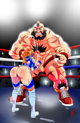 1girl 1guy ass beard blonde_hair breasts brown_hair capcom cum female hairy_chest paizuri penis rainbow_mika street_fighter wrestling_ring yuujin zangief