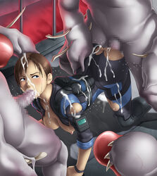 3boys anal anal_sex blue_eyes blush bodysuit breasts censored cum cum_on_clothes cum_on_face cum_on_hair deep_rising fellatio female gangbang group_sex human jill_valentine male monster multiple_males nipples ooze ooze_(resident_evil) penis rape resident_evil resident_evil_revelations sex straight tongue vaginal_penetration
