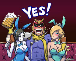 2girls akairiot beer black_hair blonde_hair blue_eyes blush bowtie breast_grab bunny_ears bunnygirl captain_falcon cleavage couch crown earrings f-zero female groping hair_over_one_eye large_breasts leotard long_hair male nintendo pale_skin ponytail princess_rosalina sitting smile super_mario_bros. super_mario_galaxy super_smash_bros white_eyes wii_fit wii_fit_trainer