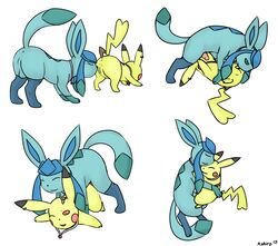 69 2015 all_fours animal_genitalia anus ass balls black_skin blue_eyes blue_skin blush canine_penis closed_eyes doggy_style duo eeveelution erection female feral from_behind glaceon hug knot kyoushiro licking male necklace nintendo open_mouth oral penetration penis pikachu plain_background pokemon pussy raised_tail red_eyes sex smile tongue tongue_out vaginal_penetration vaginal_penetration video_games white_background yellow_skin