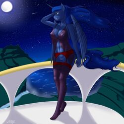 2015 alicorn anthro anthrofied areola balcony big_breasts blue_hair breasts clothing equine female friendship_is_magic full_moon garter_belt hair horn legwear lingerie long_hair mammal moon my_little_pony navel nipples outside pabloracer plantigrade princess_luna_(mlp) pussy see-through shooting_star solo stockings water wings