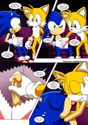 2015 balls bbmbbf canine closed_eyes comic duo erection fox hedgehog kissing male male/male mammal mobius_unleashed movie_theater palcomix penis popcorn public sonic_(series) sonic_the_hedgehog tails text tongue video_games