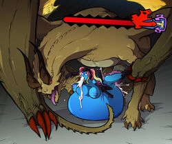 balls blue_skin breasts capcom claws cum cum_explosion cum_filled cum_inside cum_out_mouth cum_overflow cum_through dragon duo erection excessive_cum female feral from_behind hair huge_belly hyper_belly impossible_fit inflation interspecies large_breasts leg_grab male male/female monster monster_cock monster_hunter nipples nude penetration penis pink_hair ridiculous_fit rolling_eyes sex size_difference sparrow spread_legs spreading stomach_bulge vaginal_penetration veiny_penis video_games wings xaeyessa zoophilia