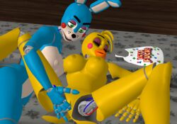 3d anthro anus big_breasts breasts cgi chica female female/female five_nights_at_freddy's nipples nude open_mouth penetration pussy thesp toy_bonnie video_games