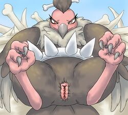 avian barefoot beak bird bone claws feathers female feral hair looking_at_viewer mandibuzz nintendo nude pokemon presenting presenting_pussy pussy sharp_claws smile solo spikes spread_legs spreading toe_claws unknown_artist video_games vulture wings