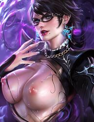 bayonetta bayonetta_(character) bayonetta_2 black_hair blue_eyes blush bodysuit breasts breasts_outside clothed earrings glasses highres large_breasts lipstick looking_at_viewer nipples pose sakimichan sega short_hair smile solo wet