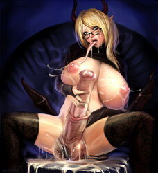 aivelin blonde_hair blue_eyes cum cum_on_breasts demon dickgirl drithique erection facial futa_solo futanari horns horsecock large_breasts large_penis large_testicles long_hair long_tongue masturbation nipples penis pointy_ears sitting spread_legs tail testicles thighhighs tongue tongue_out