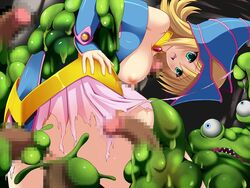 blonde_hair blush breasts censored dark_magician_girl duel_monster looking_down monster paizuri pinky-snow rape sex slime tentacle torn_clothes yu-gi-oh! yuu-gi-ou_duel_monsters