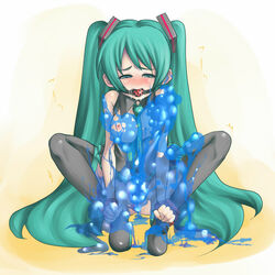 anal ball_gag blush bondage bondage breasts female gag goo green_eyes green_hair hatsune_miku monster rir slime slime_suit stockings tentacle twintails vaginal_penetration vocaloid wrists_to_ankles