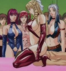 6+girls bare_shoulders belt blonde_hair breasts brown_hair cleavage discipline dominatrix drill_hair erect_nipples femdom girl green_eyes grey_hair hair_ornament hentai high_heels huge_breasts large_breasts legs lingerie long_hair looking_down lying morimoto_leona multiple_girls navel nude nurse pink_hair red_hair short_hair sitting sitting_on_face sitting_on_person skirt smile thighhighs thighs twintails watching