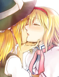 2girls alice_margatroid bad_id blonde_hair blush chin_grab closed_eyes female french_kiss hairband hand_on_another's_head hand_on_head hat kirisame_marisa kissing kiyohisa lips long_hair multiple_girls open_mouth ribbon ribbons saliva short_hair toraneko touhou witch witch_hat yuri