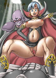 anus bulma_briefs censored dragon_ball dragon_ball dragon_ball_z female monster pussy rope spread_legs sweat takimoto_dojo