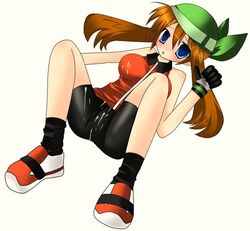 artist_request bike_shorts blue_eyes blush brown_hair cleavage cum empty_eyes gloves lying may_(pokemon) pokemon
