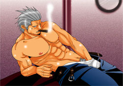 1boy abs boxers cigar gray_hair grey_hair hand_in_pants jeans male masturbation muscle one_piece pubic_hair shirtless smoker smoker_(one_piece) smoking solo topless underwear white_hair yaoi