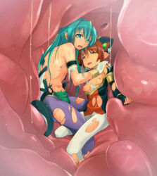 2girls anshinmama aqua_eyes aqua_hair bad_end breasts brown_eyes brown_hair death digested digestion dissolving_clothes flat_chest highres holding inside_creature kurea long_hair lux_dioskouroi midriff multiple_girls navel nipples no_bra pantyhose pointy_ears red_eyes red_hair shinrabanshou shizuku shizuku_(shinrabanshou) short_hair small_breasts sshort_hair stomach sum tears torn_clothes torn_pantyhose vore