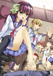angel_beats! bad_id barefoot feet female footjob fujimaki_(angel_beats!) highres hinata_(angel_beats!) matsushita motion_blur nakamura_yuri noda_(angel_beats!) onaka_sukisuki ooyama_(angel_beats!) otonashi_(angel_beats!) panties pantyhose pantyshot restrained school_uniform serafuku single_thighhigh thighhighs tk_(angel_beats!) underwear yui_(angel_beats!) yuri_(angel_beats!) yusa yusa_(angel_beats!)