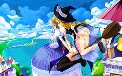 2girls alice_margatroid ass bad_id black_legwear blonde_hair blue_eyes blush broom capelet city cloud clouds cross female flying hairband hat highres insertion kirisame_marisa kouichi_t legwear long_hair multiple_girls object_insertion panties panty_pull pussy red_eyes scenery see-through short_hair stockings thighhighs touhou underwear upskirt vibrator vibrator_under_panties wallpaper water witch witch_hat yuri