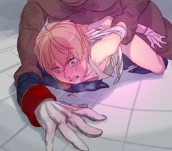 2boys aldnoah.zero anal aqua_eyes blonde_hair blood breath dark_skin faceless faceless_male fat_man gloves hairy matsuba_(idiotlantern) multiple_boys nosebleed rape short_hair slaine_troyard tears torn_clothes white_gloves yaoi