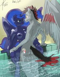 2014 alicorn anthro areola breasts caliber cartoon duo equine erect_nipples fan_character female friendship_is_magic horn horse male male/female mammal my_little_pony nipples pegasus penetration princess_luna_(mlp) sex threewontoo wings