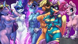 2015 abs alicorn anthro anthrofied applejack_(mlp) areola arm_behind_head atryl big_breasts biting_lip blonde_hair blue_eyes blue_fur bodysuit bracelet breasts clothing earth_pony edit equine eyewear female fili-second_(mlp) fluttershy_(mlp) freckles friendship_is_magic fur gloves glowing goggles group hair hi_res horn horse humdrum_(mlp) jewelry long_hair magic mammal mask masked_matter-horn_(mlp) mistress_mare-velous_(mlp) multicolored_hair my_little_pony navel nipples nude one_eye_closed open_mouth orange_fur pegasus pink_fur pink_hair pinkie_pie_(mlp) pony power_ponies_(mlp) purple_eyes purple_fur purple_hair pussy radiance_(mlp) rainbow_dash_(mlp) rainbow_hair rarity_(mlp) saddle_rager_(mlp) skinsuit small_breasts smile the_mane_six thigh_gap torn_clothing twilight_sparkle_(mlp) unicorn wardrobe_malfunction white_fur wings yellow_fur