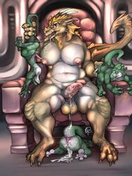 after_sex all_fours anthro anus ass balls big_balls big_breasts blue_eyes breasts chubby claws cum cum_in_ass cum_in_mouth cum_inside cum_on_balls cum_on_body cum_on_ground cum_on_penis dickgirl dragon dripping group horn intersex intersex/male kobold larger_intersex male muscles on_floor open_mouth penis presenting presenting_hindquarters sitting smaller_male somniferous suspension tail_grab tongue upside-down