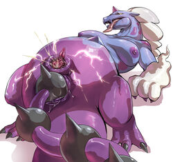 anal anal_sex big_clitoris breasts censored chubby claws clitoris digitigrade electricity female ganguro_(artist) leaning leaning_back legendary_pokémon masturbation nintendo orgasm penetration plain_background pokemon pussy pussy_ejaculation pussy_juice saliva sex solo tail_sex thundurus tongue tongue_out video_games white_background yellow_eyes
