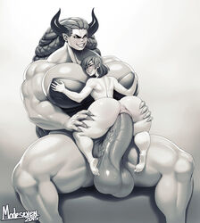 anal anal_sex ass barefeet blush bra cowgirl_position demon dickgirl erection feet female futa_on_female futanari horns huge_cock large_breasts large_penis large_testicles long_hair modeseven monochrome muscle muscular nitrotitan nude penis sex short_hair sitting size_difference smile sweatdrop testicles