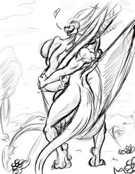 balls big_breasts breasts cum cum_in_pussy cum_inside dragon female heart horn looking_back male sex shinysteel standing wings