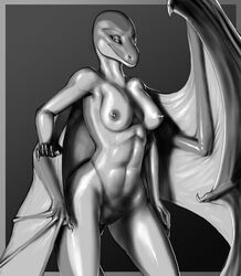 2015 anthro breasts cetacean dolphin dragon female greyscale hybrid mammal marine monochrome nipples nude pussy rakisha scalie wings