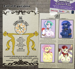 2015 alicorn animal_genitalia anthro anthrofied beret blue_eyes blush bondage bondage bound breasts collar cum cum_in_mouth cum_inside eggonaught english_text equine erection fall_of_equestria fan_character female fluttershy_(mlp) friendship_is_magic green_eyes group hair hat horn horsecock looking_at_viewer mammal multicolored_hair my_little_pony nipples nude oral pegasus penis phathusa pink_hair poster princess_celestia_(mlp) princess_luna_(mlp) purple_eyes red_hair rope rope_bondage severed_horn slave text tongue tongue_out unicorn wings