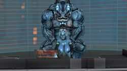asari blue_skin collar desk dreamhawk fat_man from_behind huge_balls huge_breasts interspecies liara_t'soni looking_at_viewer mass_effect monster nude office rape size_difference source_filmmaker tagme yahg