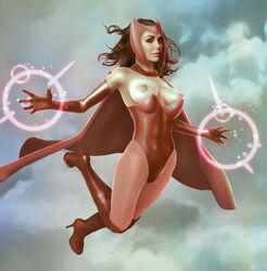 boots breasts breasts_out brown_hair cape elbow_gloves elizabeth_olsen female gloves high_heels leotard long_hair marvel nipples pantyhose porcupine_(artist) scarlet_witch solo
