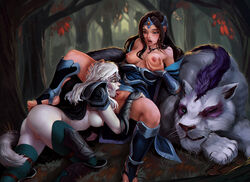 2girls armor ass bent_over black_hair boots breast_grab breasts closed_eyes cunnilingus dota dota_2 drow_ranger feline female feral gloves kneeling licking long_hair mirana nipples open_mouth oral pale_skin pussy saneperson sitting tongue tongue_out white_hair yuri