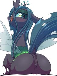 2015 anus ass blush changeling dock fangs female feral friendship_is_magic hair half-closed_eyes horn licking licking_lips long_hair looking_back membranous_wings my_little_pony plain_background pussy queen_chrysalis_(mlp) solo stoic5 tongue tongue_out white_background wings