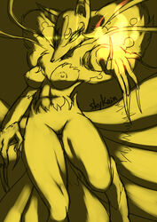 2014 anthro breasts canine claws female fire fox half-closed_eyes kyuubi_(youkai_watch) looking_at_viewer magic mammal multiple_tails navel nipples nude plain_background pussy rule_63 sketch skykain smile solo yellow_background yellow_eyes youkai_watch